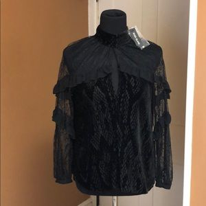Long sleeve dressy black velvet an lace top